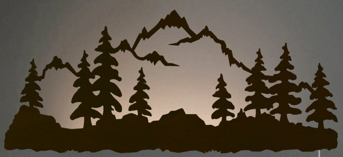 42 Mountain Scene Led Back Lit Lighted Metal Wall Art Metal