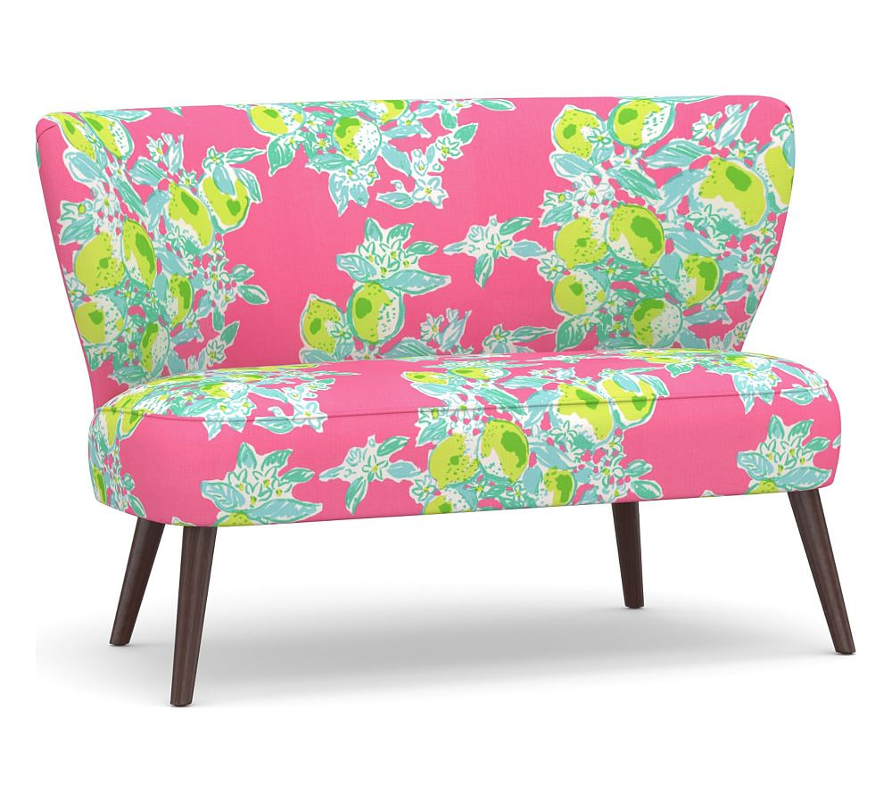 Adams Upholstered Settee, Polyester Wrapped Cushions