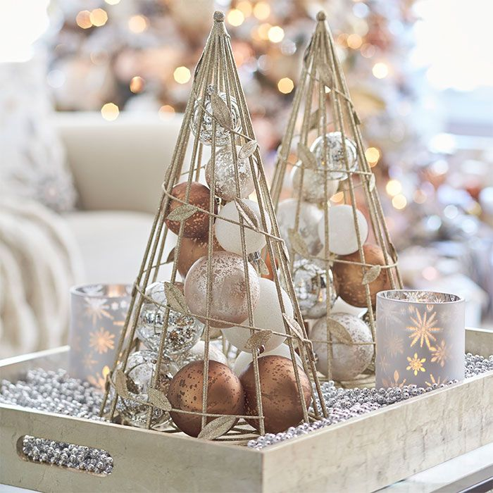 Metal Tabletop Christmas Tree: Wood Tray Filled With Beads, Candles And Decorative Metal