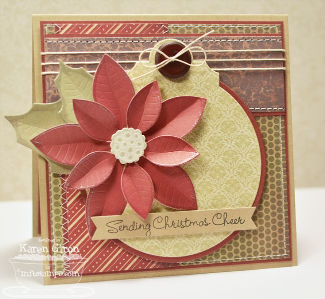 card christmas MFT Poinsettia Die-namics, Decorative Circle Tag STAX Die-namics #mftstamps - Karen Giron