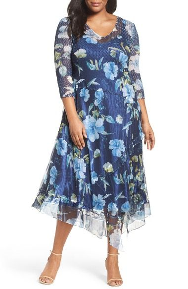 083dc14eb44 Komarov Handkerchief Hem Floral Charmeuse   Chiffon Dress (Plus Size)  available at  Nordstrom