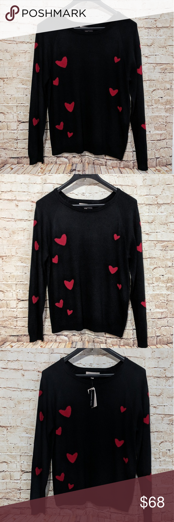 3ac176f4a0ee Philosophy Heart Print Sweater Cashmere blend Philosophy Heart Crewneck  Sweater Perfect gift idea! Lightweight cashmere blend sweater's in a fun  allover ...