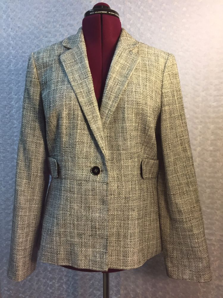 Calvin Klein Tweed Blazer Coat Women's Size 14 Career Business  | eBay