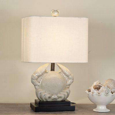Crackled Porcelain Crab Table Lamp Table Lamp Seaside Home