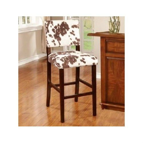 Bar Stool Cow Print Faux Cowhide Brown Animal Print Seat Counter
