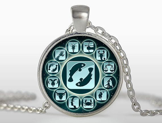 Pisces Zodiac Symbol Cabochon Pendant Necklace