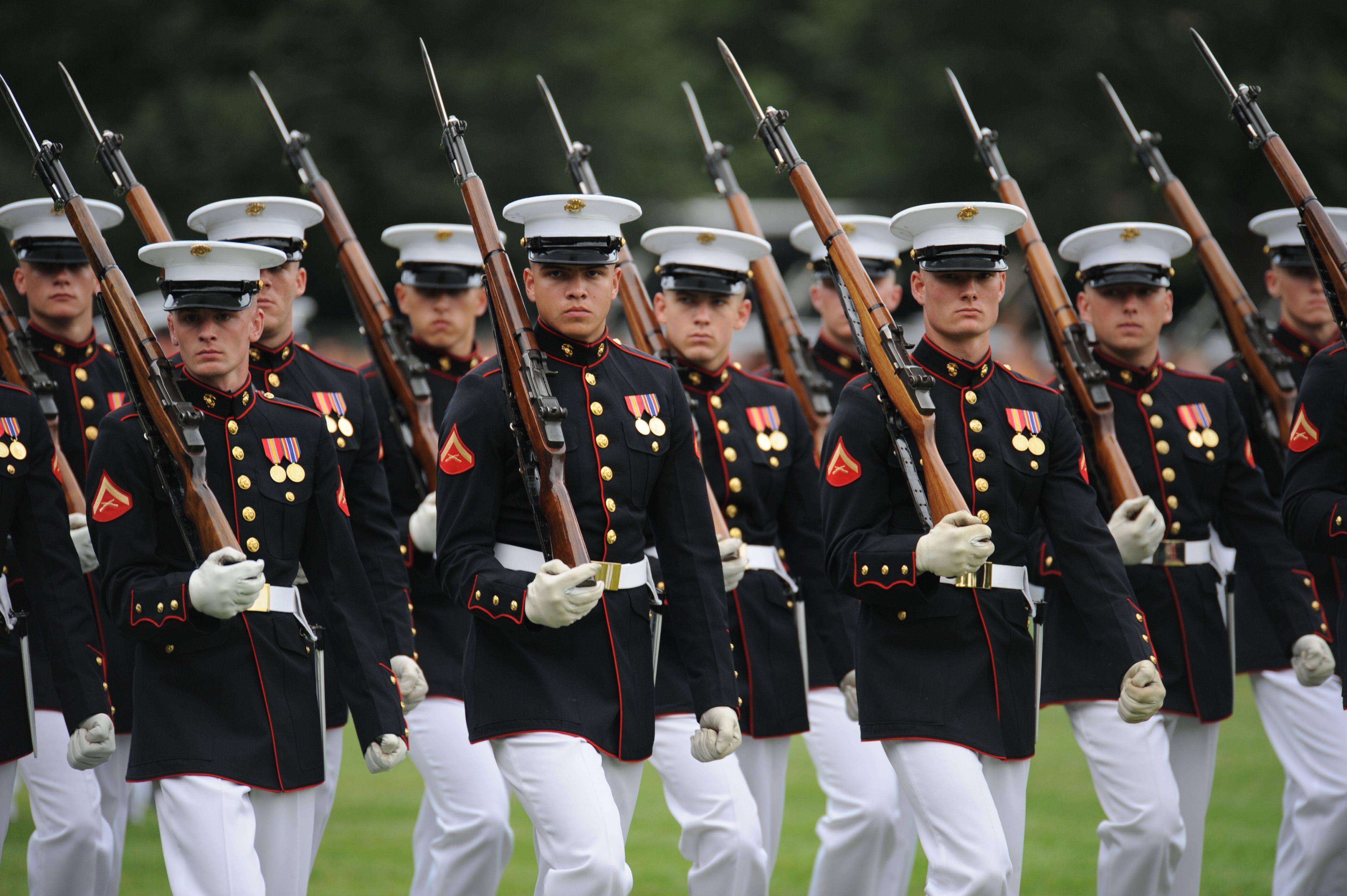 Marines in Dress Blues   Marines from Marine Barracks Washington ...