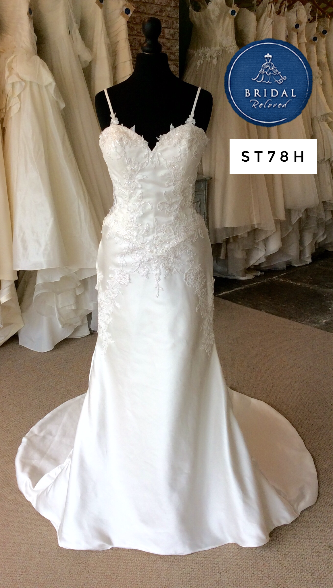 Benjamin Roberts NEW wedding dress. Fit to flare, satin gown with ...