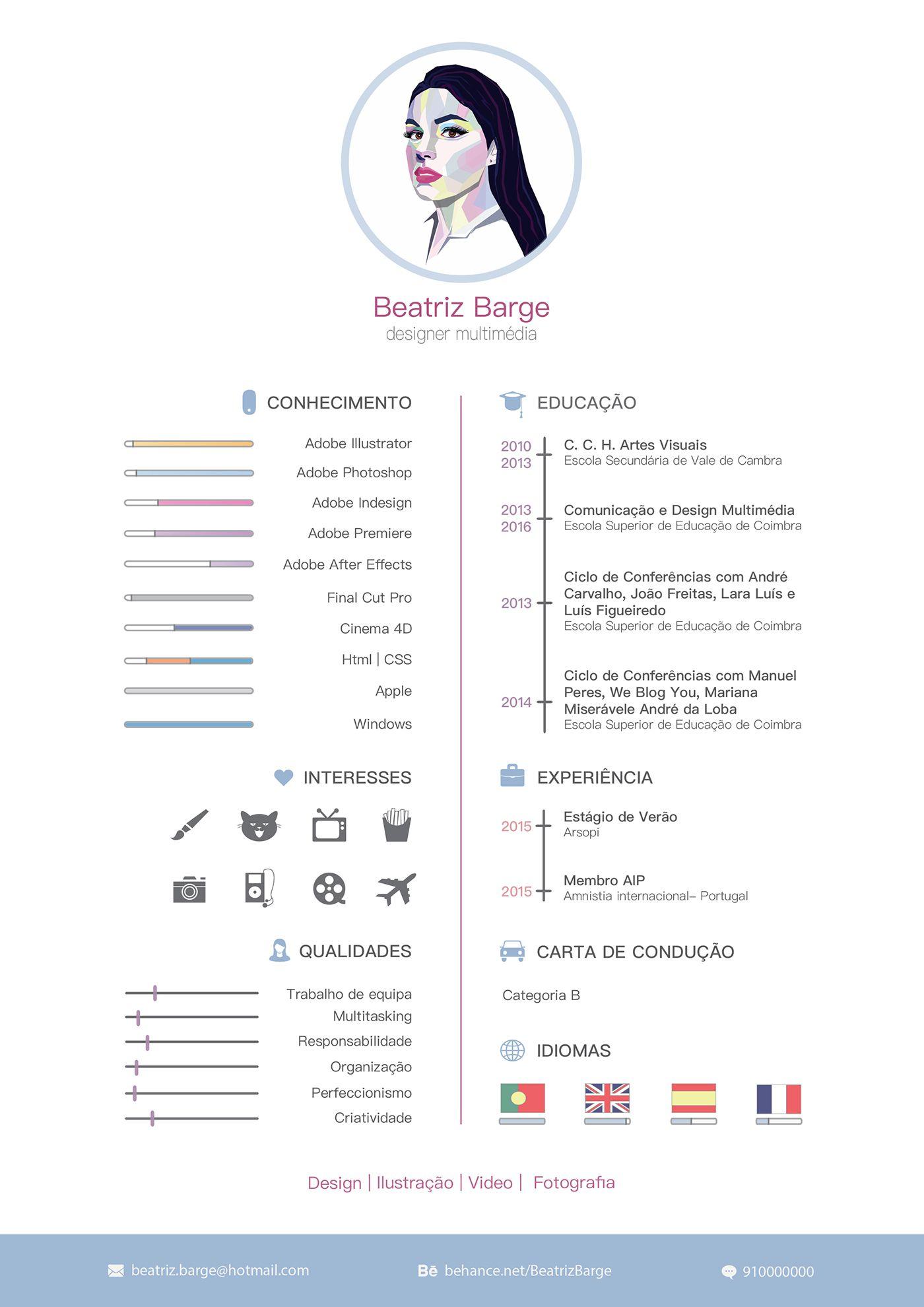 Curriculum Vitae On Behance Resume Design Creative Creative Cvs Creative Cv