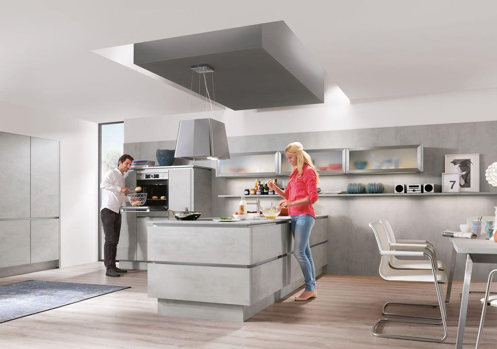 Küche Beton Optik Küchen Pinterest Küche beton, Helle farben - nobilia küchenfronten farben