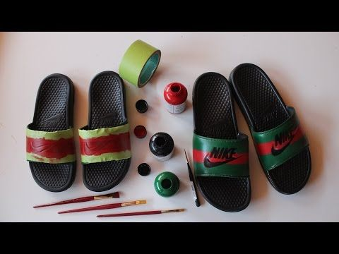 46f81a320aae How To Make Custom Gucci x Nike Sandals - YouTube
