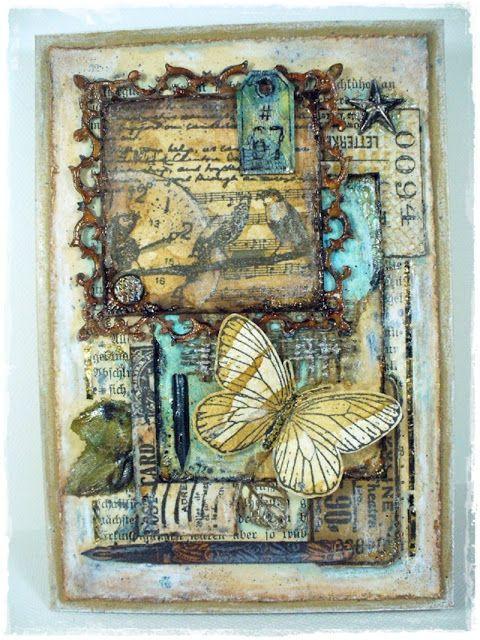 MAXymalnie Papierowo: Kartka vintage z motylem 2