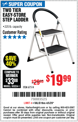 Two Tier Easy Store Step Ladder For 19 99 In 2020 Step Ladders Harbor Freight Tools Simple Storage