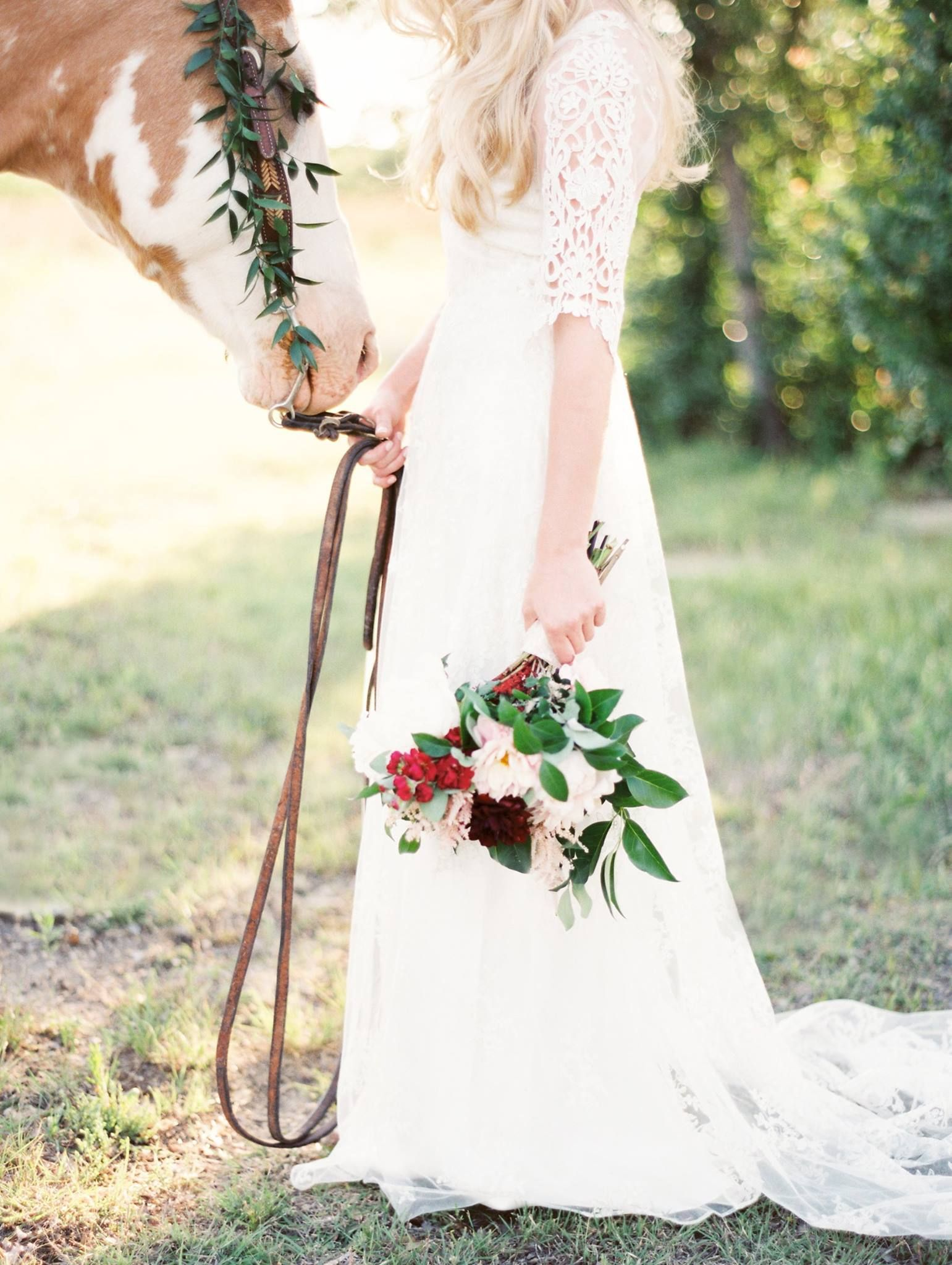 Horse with bride, country bride, Wedding theme inspiration
