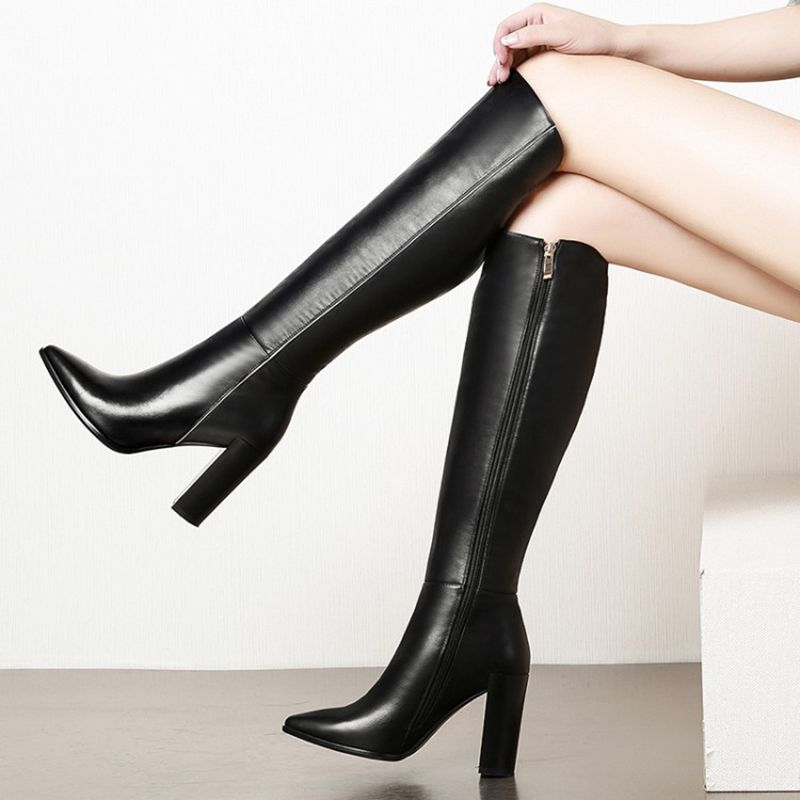Women/'s Knee High Boots Slim Shoes Pointy Toe Stiletto Heels Riding Knight Chic