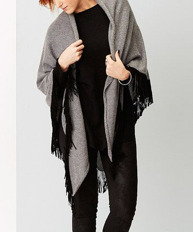 Another great find on #zulily! Heather Gray Suede-Fringe Cashmere Ruana #zulilyfinds