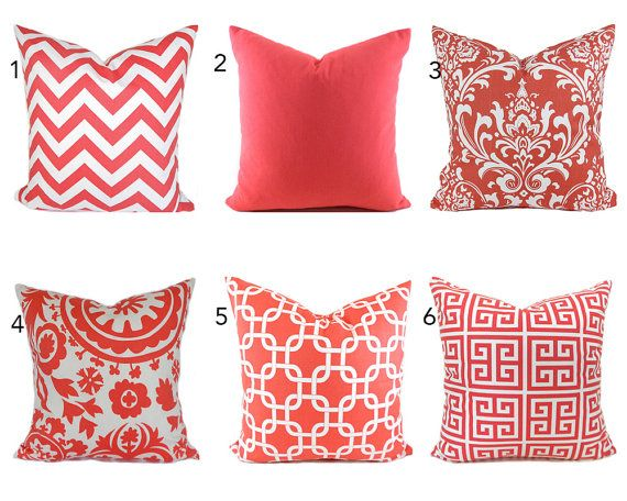 Pillow Covers ANY SIZE Decorative Pillow Cover Coral Pillow Salmon Unique What Size Insert For Pillow Cover