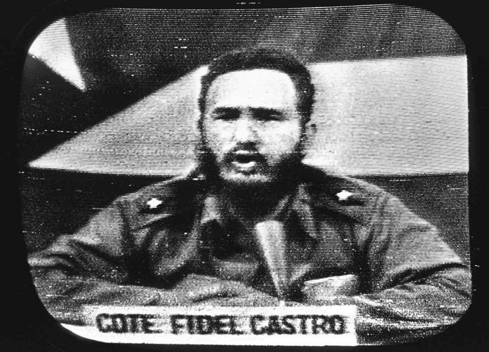 Cuban President Fidel Castro replies to President Kennedy's naval blockade via Cuban radio and television, on October 23, 1962. #cubaisland