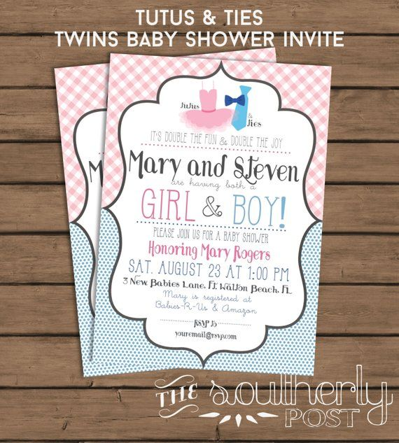 Twins Baby Shower Invitation Tutus And Ties Baby Boy