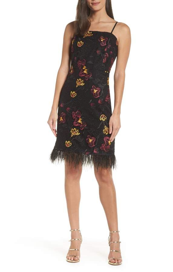 77a7a15e3696 Sam Edelman Feather Trim Embroidered Mesh Sheath Dress | Products in ...
