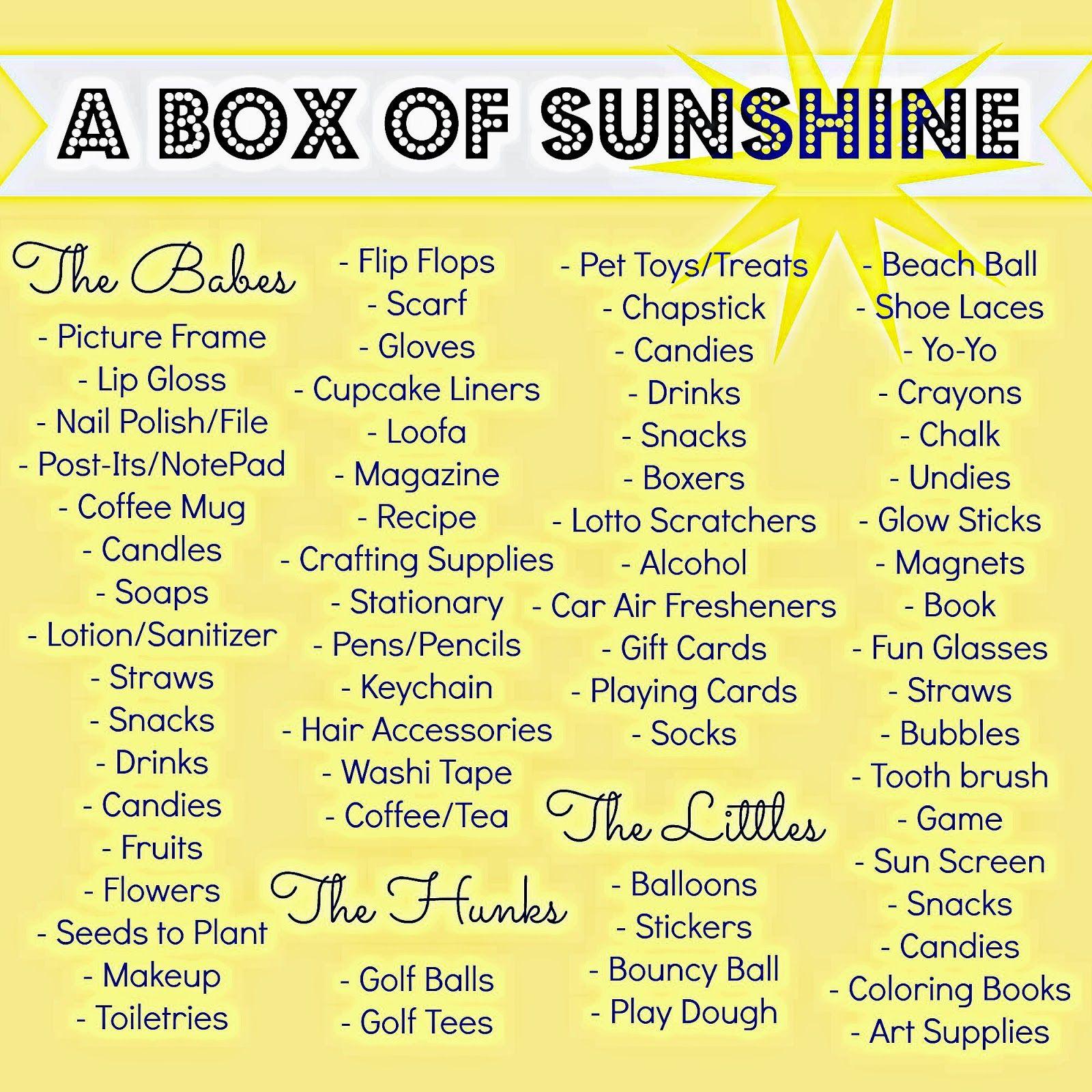 box of sunshine ideas