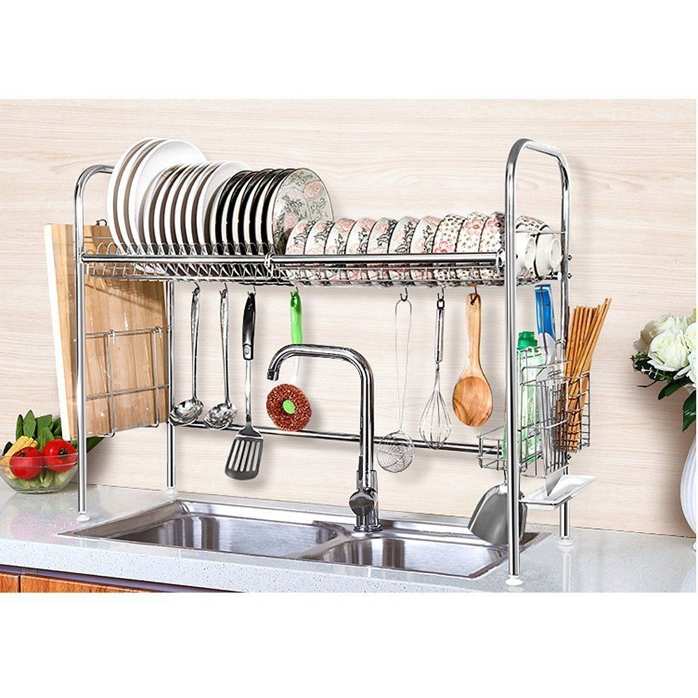 Stainless Steel Dish Rack Over Sink Bowl Shelf Organizer Nonslip