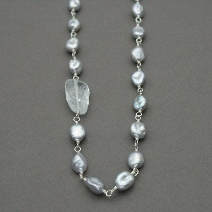 Gray Pearl & Aquamarine Linked Necklace