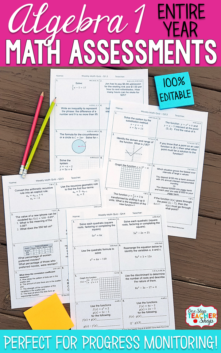 Math Assessments Or Quizzes For Algebra 1 These Algebra 1 Math Quizzes Are Aligned With The Common Core Math Math Assessment One Stop Teacher Shop Spiral Math [ 1152 x 720 Pixel ]