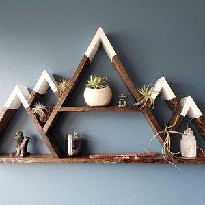 Moon Shelf, mountain shelf, essential oil shelf, crystal, moon phases, altar, witchcraft, meditation, yoga, triangle shelf, floating shelf