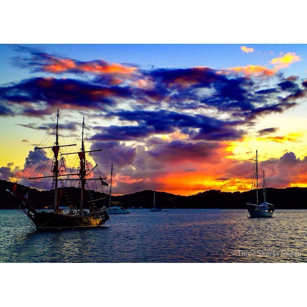 The last time we anchored in Charlotte Amalie we enjoyed a spectacular #sunset behind a #pirateship.  Captured with my #Olympus Tough TG-3.  #sailanywhere #islandlife #sailboat #getolympus by threesheetssailing