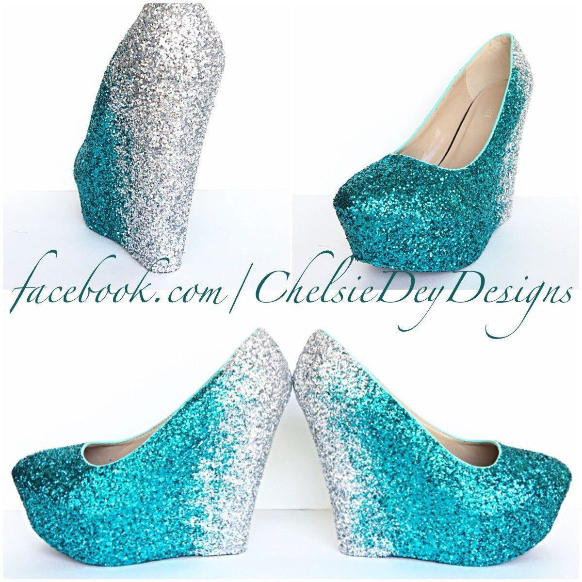 Glitter Wedges - Teal Silver Sparkly Ombre Platform Heel - Glitzy ...