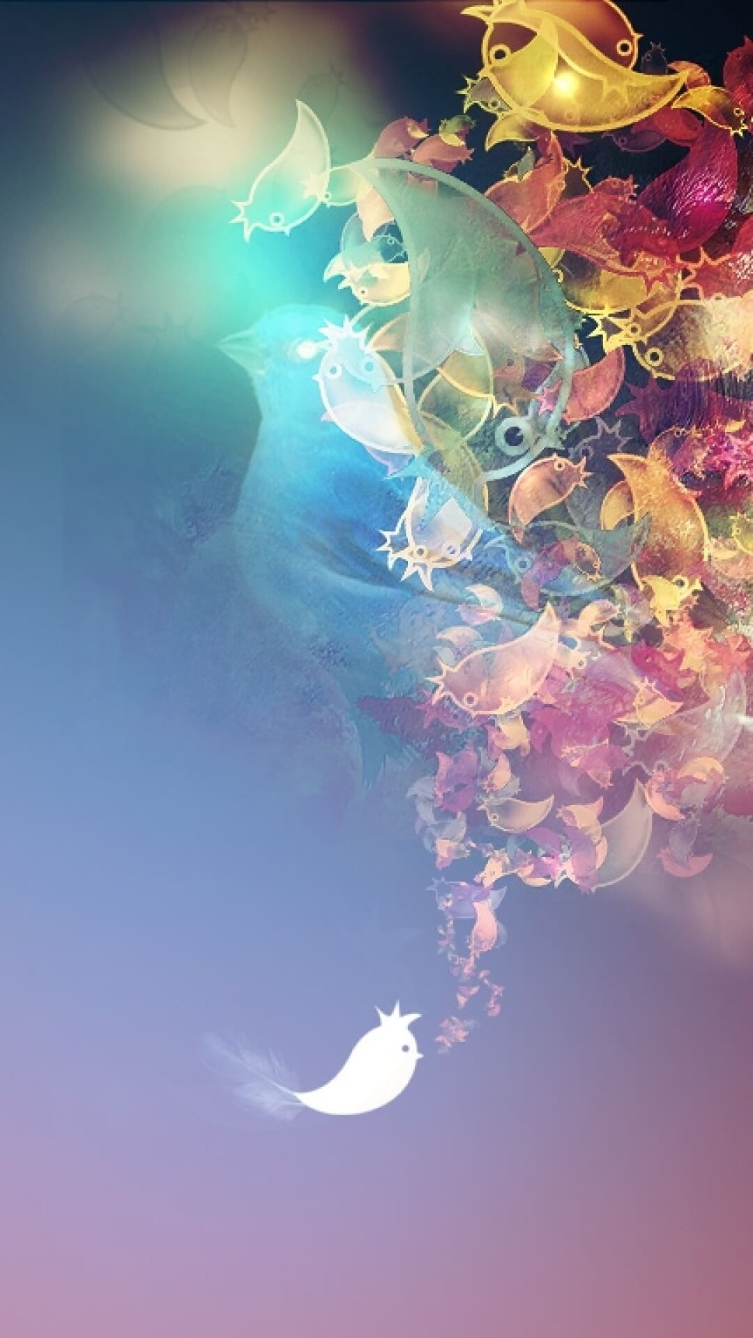 Flowers With Birds Abstract Wallpaper