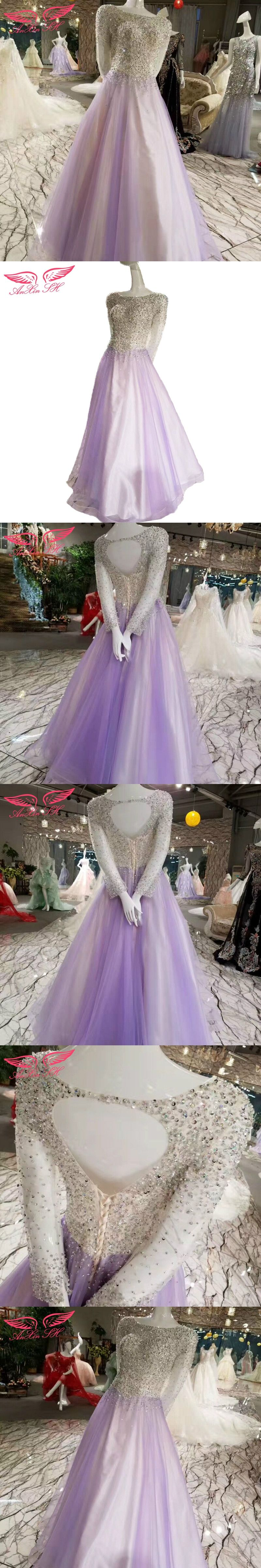 Anxin sh korean princess purple beading evening dress lace purple