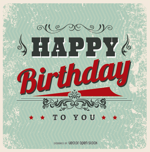 Vintage Happy Birthday postcard , Free Vector Más