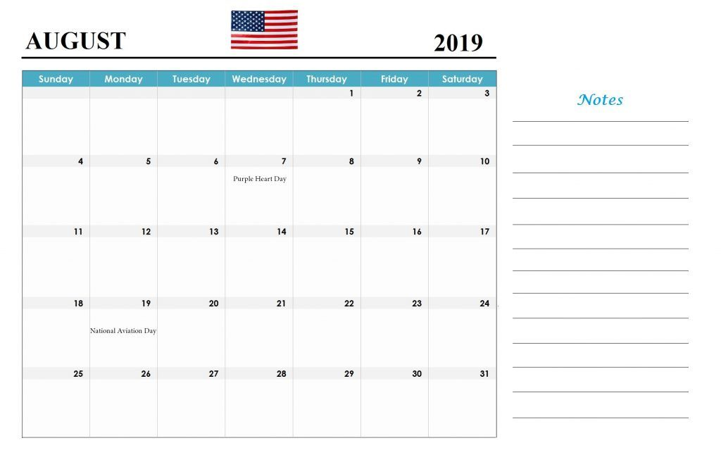 August 2019 Calendar With Holidays Usa Uk Canada India