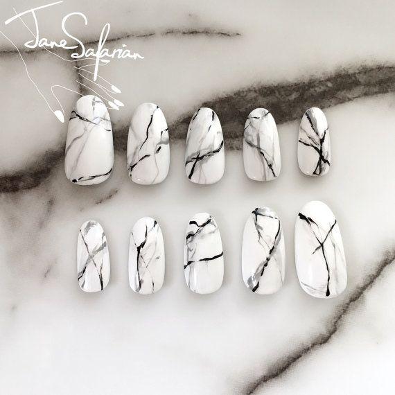 Reusable White Stone Marble Press On Nails Etsy Press On Nails White Nails Glue On Nails