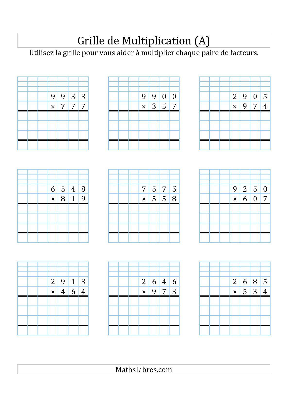 Multiplication de nombres 4 chiffres par des nombres 3 for Exercice de multiplication cm1
