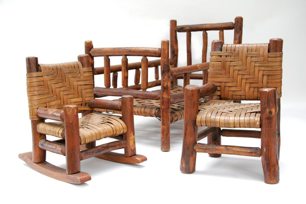 Antique Old Hickory Furniture Salesman Samples. Rare Martinsville, Indiana, vintage  old hickory 3 piece set including rocker, side chair and bed in original ... - Antique Old Hickory Furniture Salesman Samples. Rare Martinsville