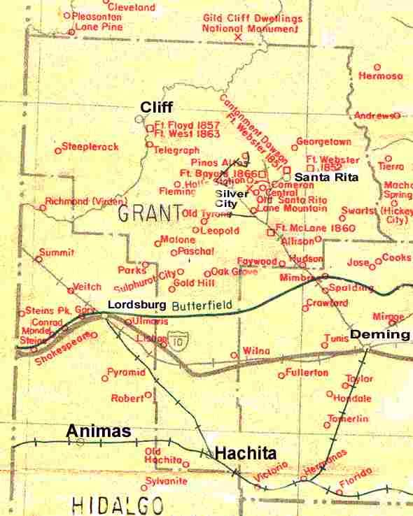 Ghost Town Map Of Grant County New Mexico Southwest Us