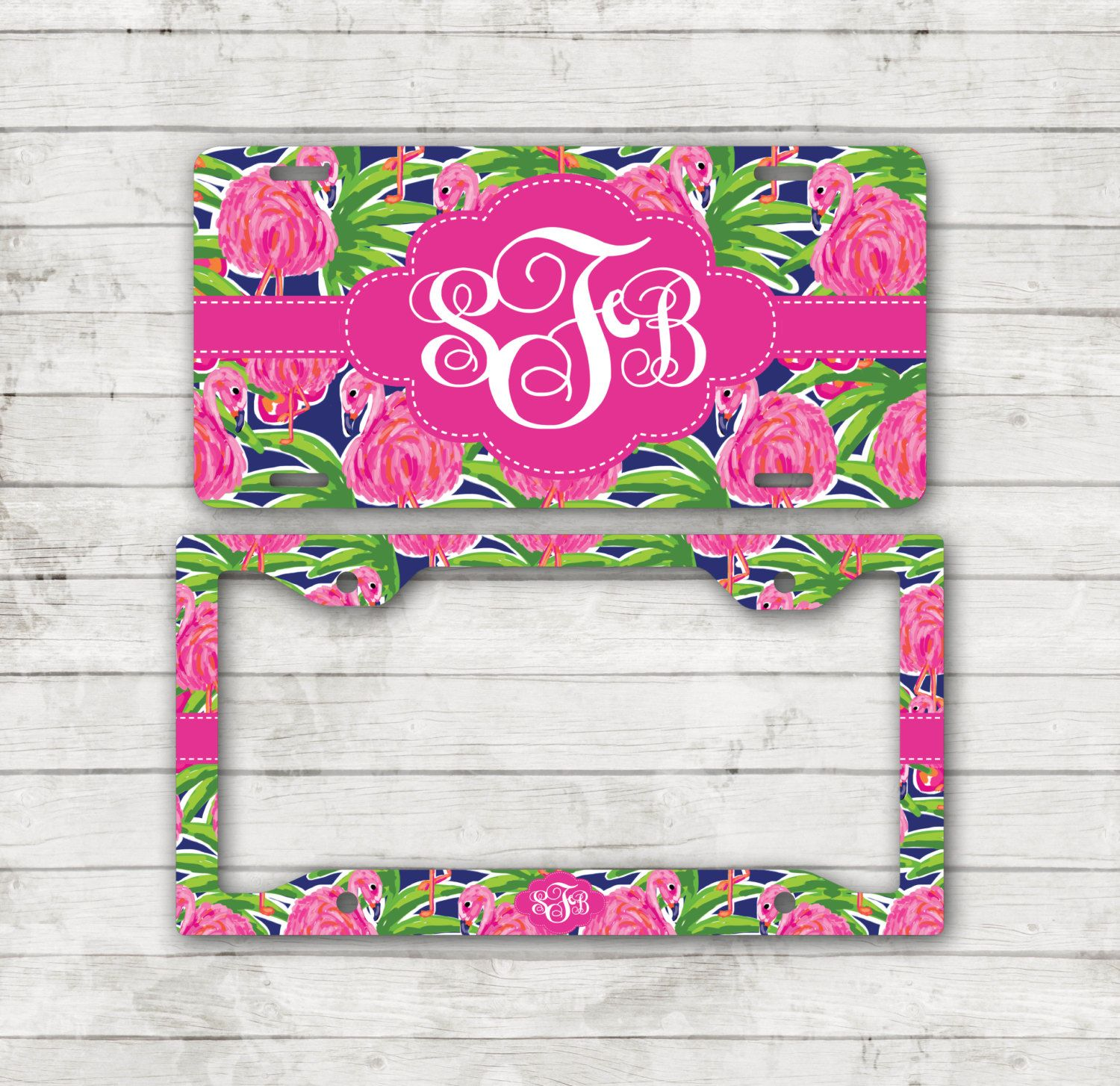 Preppy Pink Flamingo License Plate Monogram Plate Frame Personalized ...