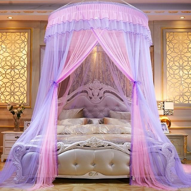 Twin,Sky Blue Mengersi Flowers 4 Corner Canopy Bed Curtains Bed Canopy for Girls Kids Toddlers Crib