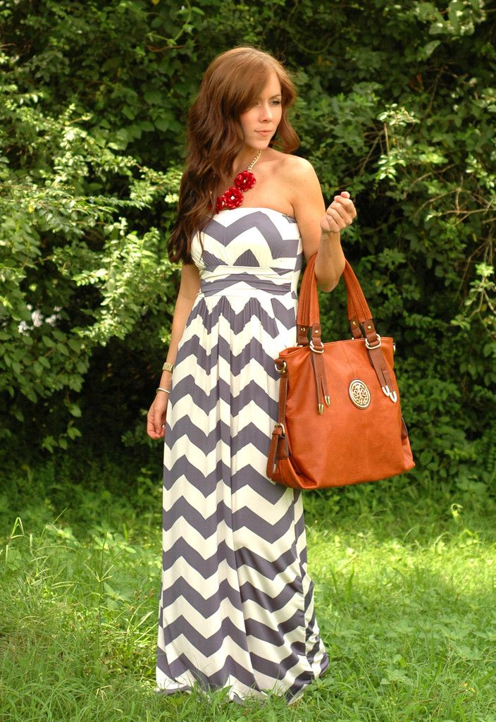 Chevron Maxi Dress...love the gray and red!