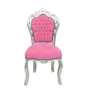 Https Htdeco Fr 2038 Thickbox Default Chaise Baroque Rose Et Argent Jpg Chaise Baroque Mobilier De Salon Fauteuil Baroque