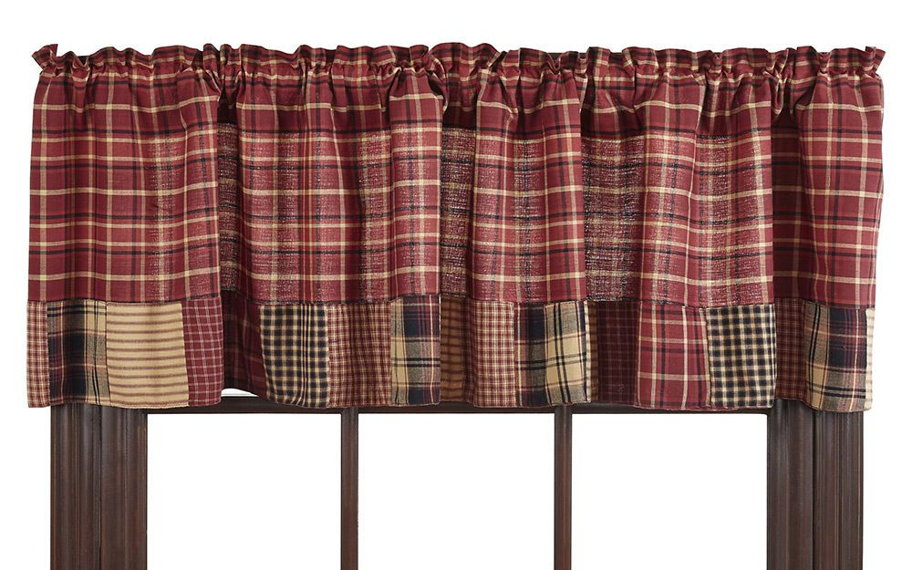 stunning Red Curtains Valance Part - 18: Patchwork Valance Rutherford Market Street Plaid Red Black Tan 72 inch  Cotton #OliviasHeartland #RusticPrimitive