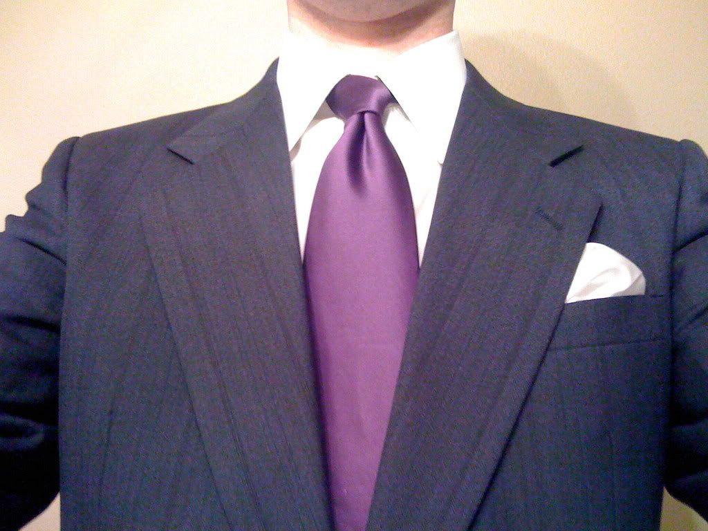 simple blackdark gray suits with solid purple ties