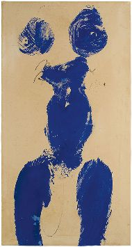 Yves Klein, Monique (ANT 59), 1960, dry pigment and synthetic resin on paper mounted on canvas, 30 1/8 × 15 7/8 inches (76.5 × 40.3 cm) © Yves Klein/2016 Artist Rights Society (ARS), New York/ADAGP, Paris 2016
