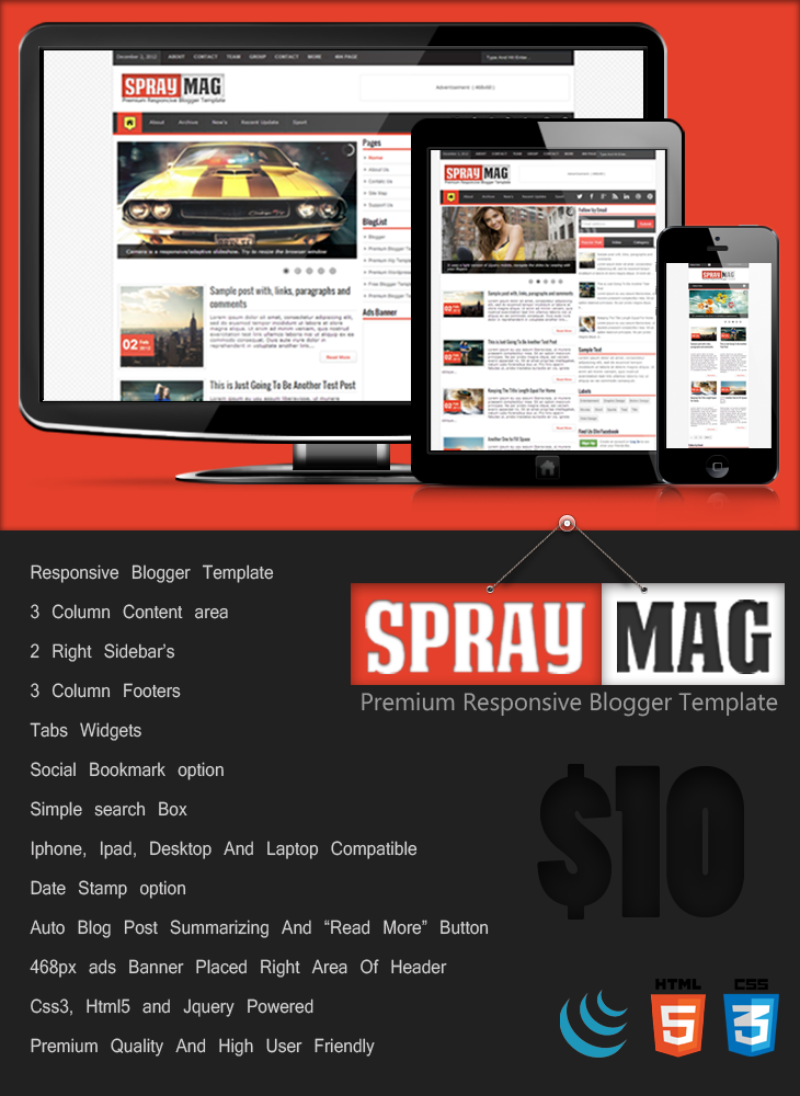 Spray Mag Premium Blogger Template | Cool Blog Templates | Premium ...