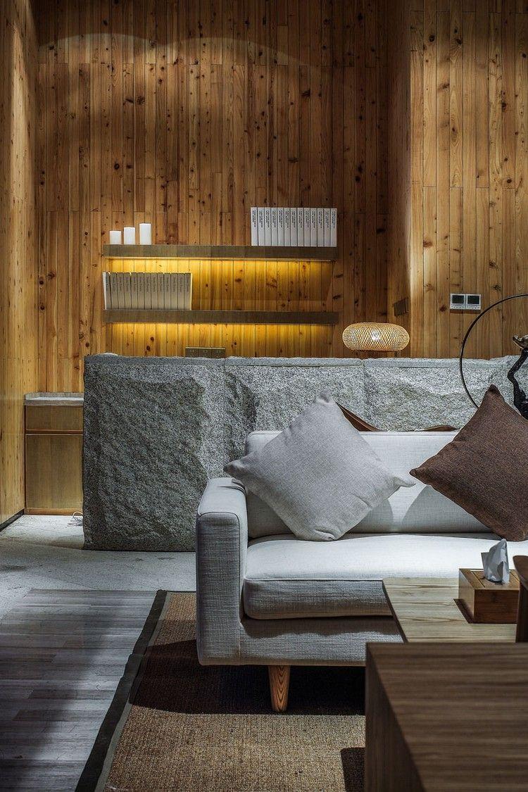 Idee Parement Mur Interieur pierre de parement intérieur, lambris bois, bureau en pierre