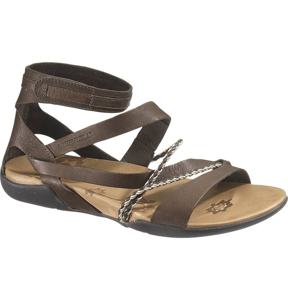 Womens sandals with arch support - Details About Merrell Women Henna Espresso Brown Leather Gladiator Sandal J85344