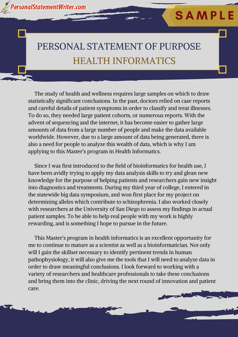 We Are Here To Provide The Best Masters Health Informatics Personal Statement Of Purpose Sample Https Www Personalsta Personal Statement Essay Examples Essay